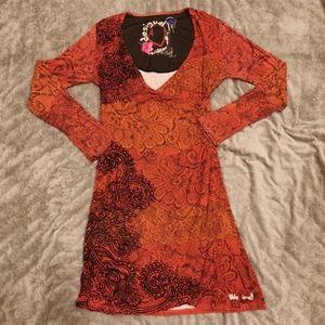 Desigual   Long Sleeve Velvet Flocked Dress